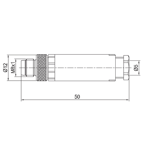 Sta M8 Straight Male Connector Eec0201