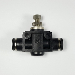 "Union airflow control valve, 1/4"" OD tube  Union airflow control valve 1/4"" tube, flow control valve, pneumatic fittings, push to connect speed control valve,"