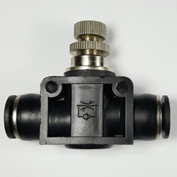 "Union airflow control valve, 3/8"" OD tube  Union airflow control valve 3/8"" tube, flow control valve, pneumatic fittings, push to connect speed control valve,"